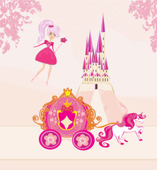 Illustration of a fairy and magical carriage