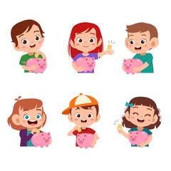 Boys and girls holding piggy bank illustration set bundle