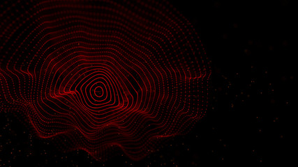 Fotoväggar - Abstract background with spider web. Dynamic wave of particles. Big data. 3d rendering.