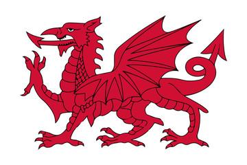 Fototapeta Welsh Red Dragon Vector illustration obraz