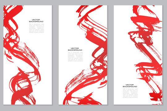 Vertical vector red banners set in modern asian style. Grunge brush strokes template for your text