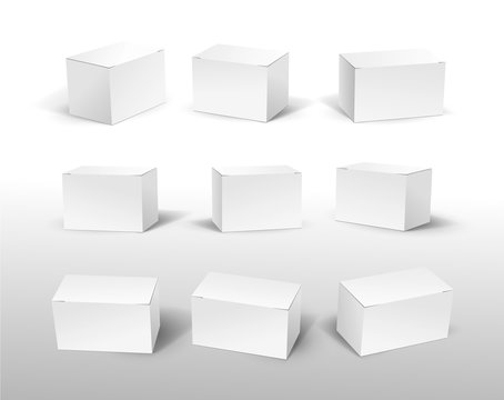 Set of white box mockup. 9 blank packaging boxes, cube perspective view and cosmetics product package mockups 3d. Vector illustration. Isolated on white background.