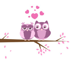 Wall Murals Greeting card with two lovely owls in love