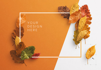 Autumn Leaves Frame Mockup