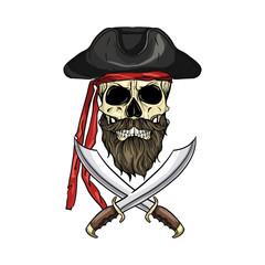 Keuken foto achterwand Draw Sketch pirate skull