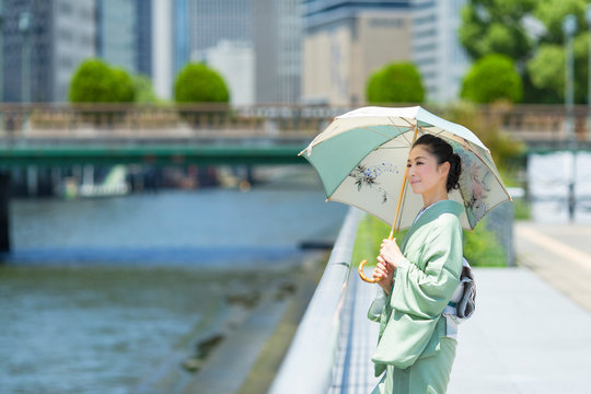 着物(夏結城紬)を着て和柄の日傘を差した日本人女性