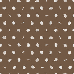 Vector brown repeat pattern with small seashells. Suitable for gift wrap, textile and wallpaper.