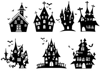 Vector set with hand drawn  castles on white background ,set of witches for halloween,Hand drawn vector illustration Wall mural