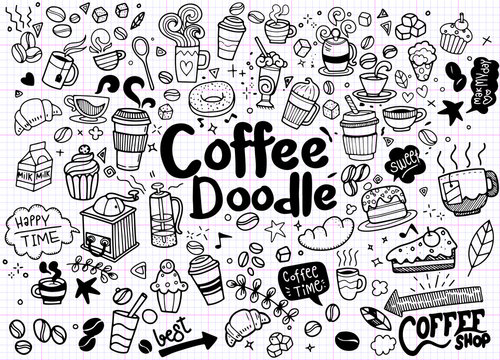 Set of hand drawn coffee and delicious sweets . Vector illustrat