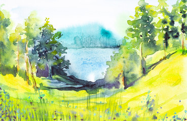 Watercolor illustration of a beautiful summer forest landscape by the lake
