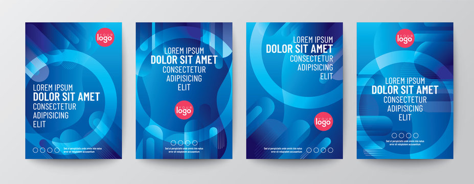Set of abstract round shape graphic elements on blue background for Brochure, Flyer, Poster, leaflet, Annual report, Book cover, Graphic Design Layout template, A4 size