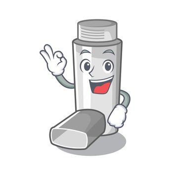 Okay asthma inhalers in cartoon medicine box