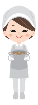 Illustration of an aunt with lunch