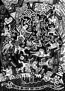 Illustration  ,Hand Drawn Doodle of crazy people in the city psychedelic doodles