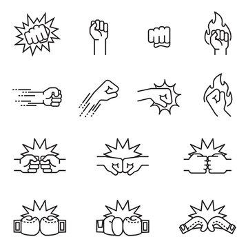 Fight, fist bump icon set concept. Thin line style stock vector.