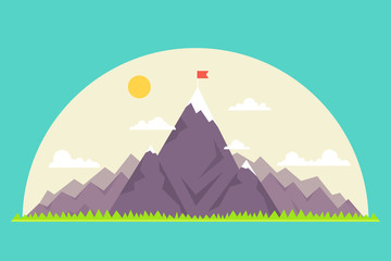 Foto op Plexiglas Groene koraal Top of the mountain with red flag. Business success concept. Vector illustration.
