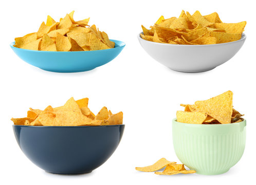 Set of delicious Mexican nachos chips on white background