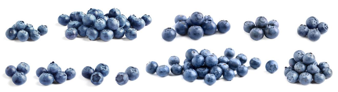 Set of delicious fresh blueberries on white background. Banner design