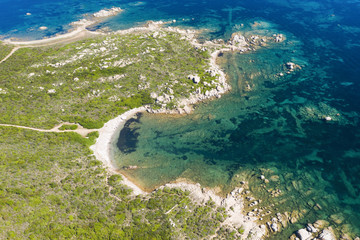 Fototapete - View from above, stunning aerial view of a wild beach bathed by a beautiful turquoise sea. Costa Smeralda (Emerald Coast) Sardinia, Italy.