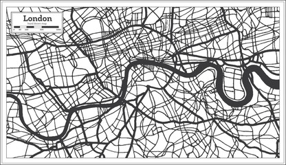 London England City Map in Retro Style in Black and White Color. Outline Map.