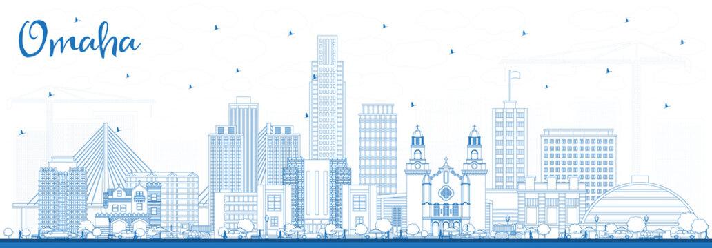 Outline Omaha Nebraska City Skyline with Blue Buildings.