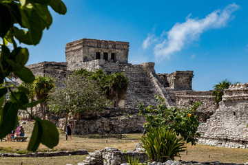 Tulum, Quintana Roo / Mexico - July 27 2019: This is the temples in in Tulum Mexico