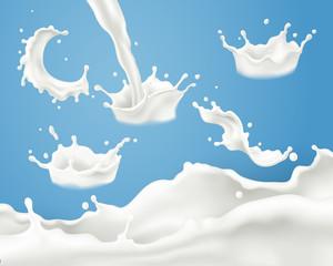 Fototapeta Splash milk collection obraz