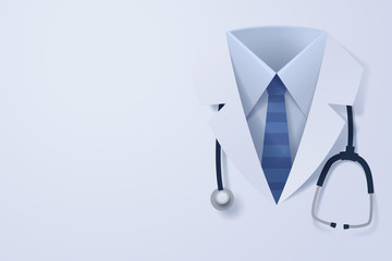 paper art of doctor cloth and stethoscope with copy space