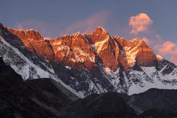 Foto op Plexiglas Bergen Lhotse mountain peak, fouth highest peak in the world in Himalaya mountain range, Everest region, Nepal