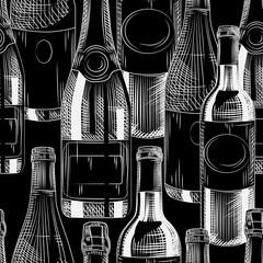 Hand drawn wine bottles seamless pattern on black background.