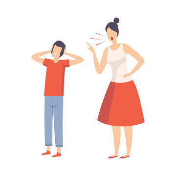 Mother Scolding Her Teenager Boy, Conflict with Parents Vector Illustration