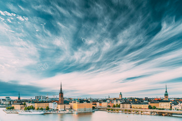 Aluminium Prints Stockholm Stockholm, Sweden. Scenic Famous View Of Embankment In Old Town Of Stockholm At Summer. Gamla Stan In Summer Evening. Famous Popular Destination Scenic Place And UNESCO World Heritage Site