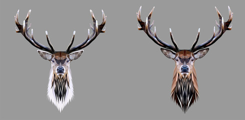 Wild deer head with horns on dark background, low poly triangular and wireframe vector illustration isolated. Polygonal style trendy modern logo design. Suitable for printing on a t-shirt.