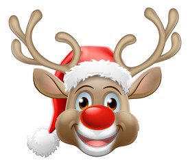 Christmas reindeer red nosed deer cartoon character wearing a Santa Claus hat