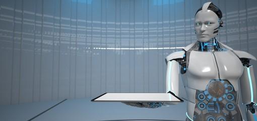 Fototapete - Humanoid Robot Tablet PC