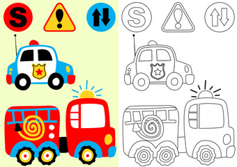 vector cartoon of fire engine and police car with traffic signs, coloring book or page