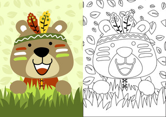 vector cartoon of bear the little indian, coloring book or page