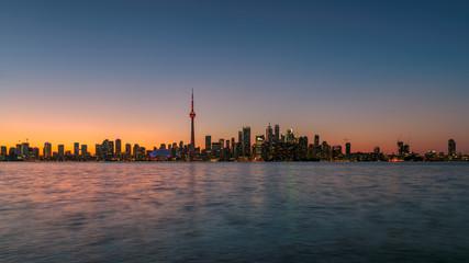 Toronto city skyline after sunset in Toronto, Ontario, Canada.
