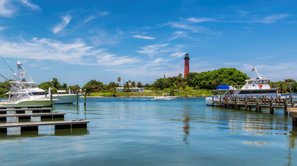Beautiful view of the Jupiter lighthouse at sunny summer day in West Palm Beach County, Florida