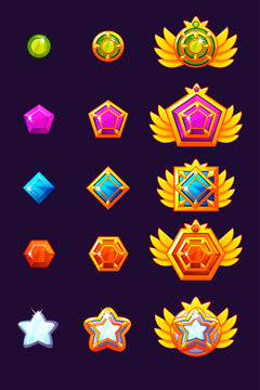Set Gems award progress. Golden amulets set jewelry. Vector icons assets for game design on separate layers