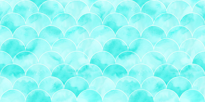 Turquoise sea wave geometric texture. Fish scale seamless pattern.