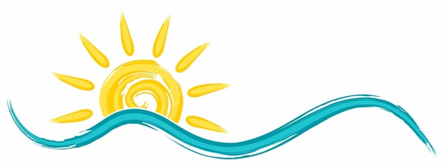 Symbol of bright summer sun with beams and Sea.