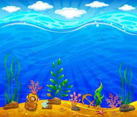 Underwater world. Sea bottom, plants, anchor, underwater helmet.