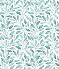 Seamless pattern with stylized tree branches. Watercolor illustration.