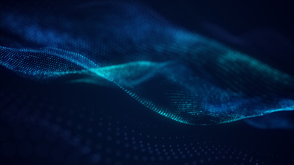 beautiful abstract wave technology background with blue light digital effect corporate concept Fotoväggar