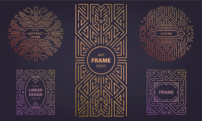 Set of vector Art deco silver borders and frames. Creative templates in style of 1920s, illustration. Trendy cover, graphic poster, packaging and branding.
