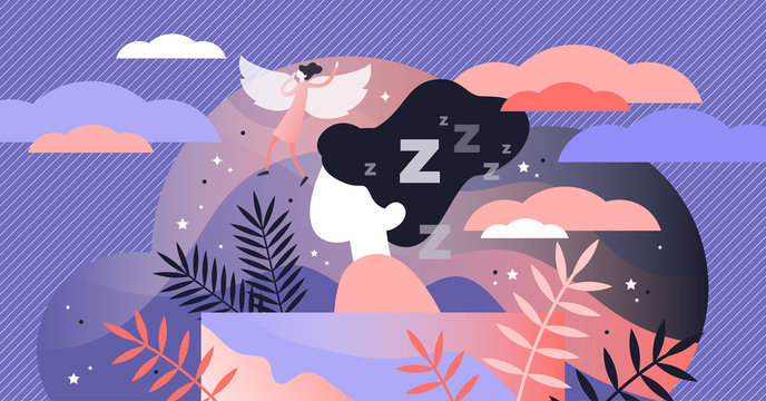 Lucid dreaming vector illustration. Flat tiny sleep control persons concept