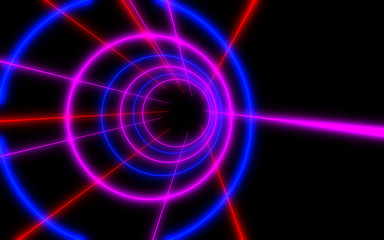3d abstract tunnel with neon light. 3d illustration