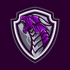 Dragon Mascot With Shield in Dark Background