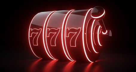 Futuristic Slot Machine Concept With Red Neon Lights Isolated On The Black Background - 3D Illustration